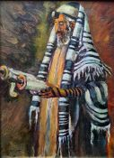 20th century school Oil on panel Rabbi, indistinctly signed lower left, 22cm x 16cm