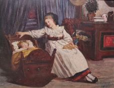 Edwards Oil on panel Mother and child in cottage interior, signed and dated 1861 lower right, 18 x
