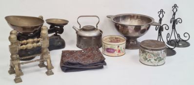 Pair of weighing scales, biscuit tins, fire tools, fishing rodsandother items