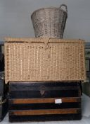 Metal and wood banded travelling trunk, a large wicker laundry basket and another basket (3)