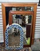 Rectangular wall mirror with pine frame, an arched top mirror with tiled frame and a 19th century