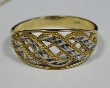 Fine gold-coloured chain necklacewith semi-precious stone flowerhead pendant and a 9ct gold dress