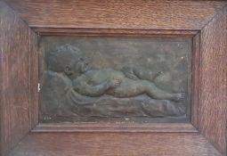 "Benjamin Creswick (1853-1946) painted plaster plaquein rectangular wooden frame ""Sam's Baby"","