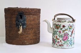 Chinese famille rose Canton teapot and cover in travelling fitted wicker case, circa 1890-1910,