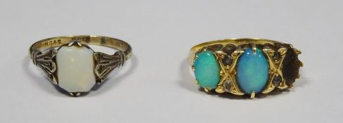 18ct gold and turquoise opal set three-stone ring(one stone missing), 4g approx total anda 9ct