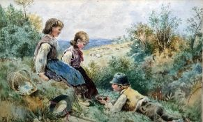 Attributed to Myles Birkett Foster (1825-1899) Watercolour Children at play, 15 x 28cm