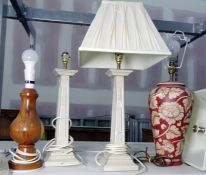 Pair of wood painted table lamps formed as square columns 37.5 cms h., a ceramic table lamp of ovoid