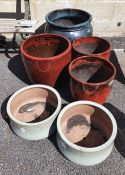 Six round glazed garden/patio planters, various colours, largest 46cm diameter (6)