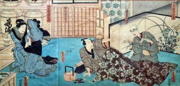 Three Japanese woodblock colour prints, Toyohara Kunichika, Actors 1866, another by Utagawa Kunisada