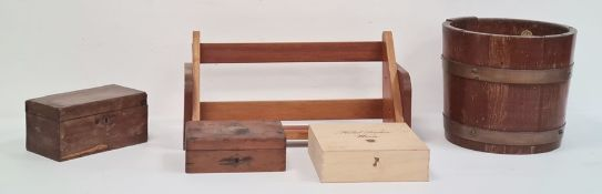 Wooden brass-bound bucketon stand, a wooden sewing box, a wooden shelfand two other boxes(5)