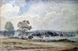 Attributed to Alfred Vickers (1853-1907) Watercolour Landscape with spires, 20 x 28cm