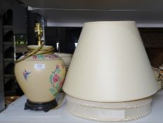 Chinese-style ceramic ovoid table lamp on wooden base and two lampshades