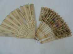 A 19th century bone and painted silk fan, central cartouche depicting courting couple, decorated