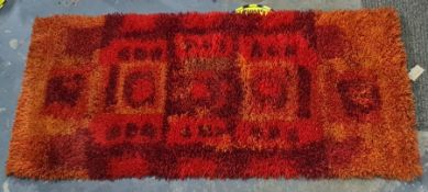 20th century rug, marked back 'Ryijy: 'Pihlajamarja' design: Terttu Tomero K'A'S Inkudottu handwoven
