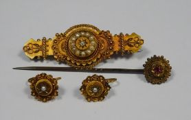 Victorian 15ct gold broochset with seedpearls, 5.6g,a pair of similar earrings and a Victorian