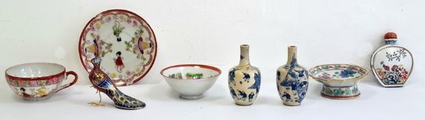 Group of Asian porcelain and enamel, comprising a Chinese porcelain compressed snuff bottle and