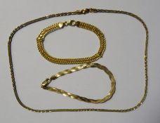9ct gold woven flat bracelet, a 9ct gold mesh collarette necklaceand a 9ct gold open mesh bracelet,