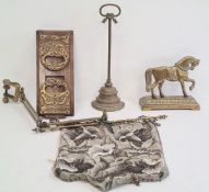 Walnut and brass-bound folding stand, a brass horse and stand, a doorstopand a beadwork wall