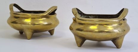 Pair of Chinese gilt bronze censers with 16-character Xuande cast mark, probably late 19th/20th