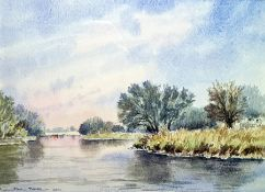 """Paul Todd Watercolour """"River Ouse at St Neots"""", a pair (2)"""