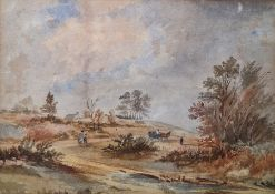 Attributed to George Cole Watercolour Landscape with figures on track, 25.5 x 36cm