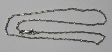 9ct white gold and hay seed chain link necklace, 7.3g approx , length 46 cms approxCondition