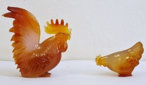 Carnelian agate miniature model of a cockerel, 7cm high and another of a hen, naturalistically
