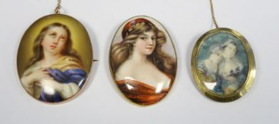 Gold-coloured oval broochwith painted scene of half-length portrait of two ladies and two other