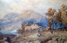 Attributed to Thomas Myles Richardson Jnr Watercolour Mountain landscape with figures, 18 x 28cm
