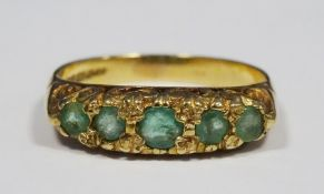 9ct gold and five-stone emerald ring, 3g in total