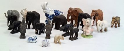 Carved African elephants, ceramic model elephantsand other model elephants(1 box)