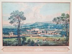 19th century colour print - 'A general view ....of Chatsworth.......seat of the Duke of
