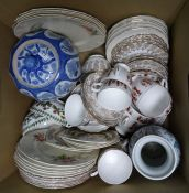 Two boxes of glass and ceramics including various part tea services such as Royal Swan, Queen Anne