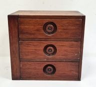 Mahogany three-drawer table-top chest, 24cm x 23cm