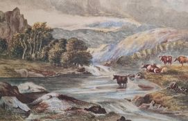 Attributed to William Langley Watercolour Cattle grazing, 19 x 27cm