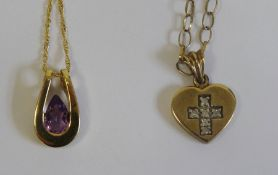 9ct gold heart-shaped pendantset with diamonds in a crucifix, on 9ct gold chain and a 9ct gold