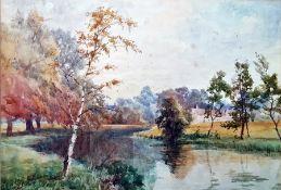 Robert Scott Temple Watercolour River scene with distant cottages, signed lower left, 24.5 x 36cm