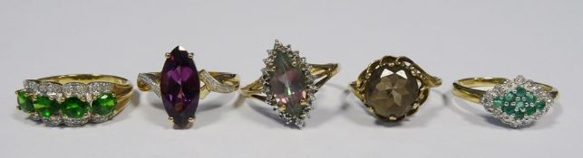 9ct gold, green stone and diamond lozenge-shaped ring, a 9ct gold, green stone and diamond ring