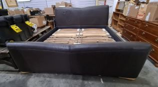 Harrods 6ft electric bed with brown leatherette head and footboard