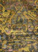 Chinese/Tibetan thangka, centred by seated Buddha with surround of numerous attendants, wild