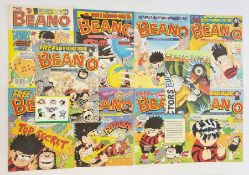 12 issues of the Beano1991 and 2000 and an advertising posterfor Ginsters 'In Cornwall Only the