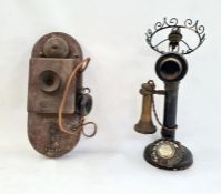 Bakelite sit-up-and-beg telephoneconverted to table lamp and another wall-mounted vintage telephone