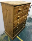 20th century pine chest of two short over four long drawers, on plinth base, 84.5cm x 114cm