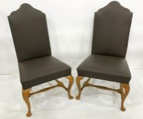 Set of six 21st century Trimline brown leatherette covered chairs on cabriole front legs (6)
