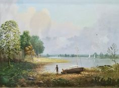 Spencer Stock Pair oils on canvas Lakeside scene with two figures and a sailing boat on shore,