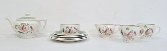 Susie Cooper hand-painted tea set for two, comprising teapot, milk jug, sugar bowl, two cups and