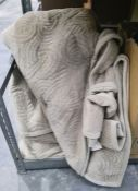 Three beige velour bedspreads (3)