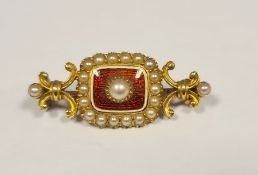 Gold(?), red enamel and seedpearl mourning brooch(unmarked)