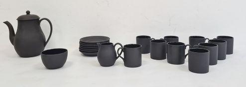 Wedgwood black jasper coffee servicefor eight persons, comprising coffee pot, milk jug, sugar bowl,