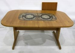 20th century Danish teak Gangso Mobler extending dining table with teak and tile extending leaf,